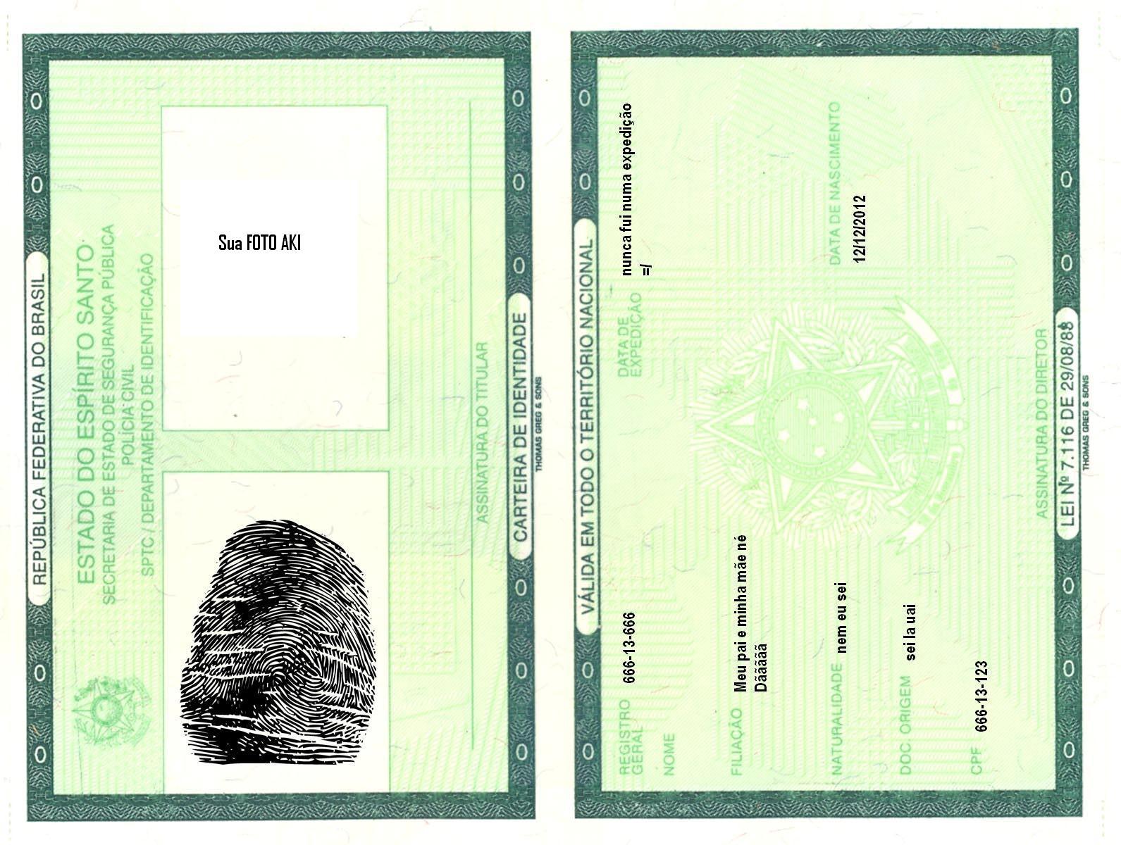 Resultado de imagem para carteira de identidade